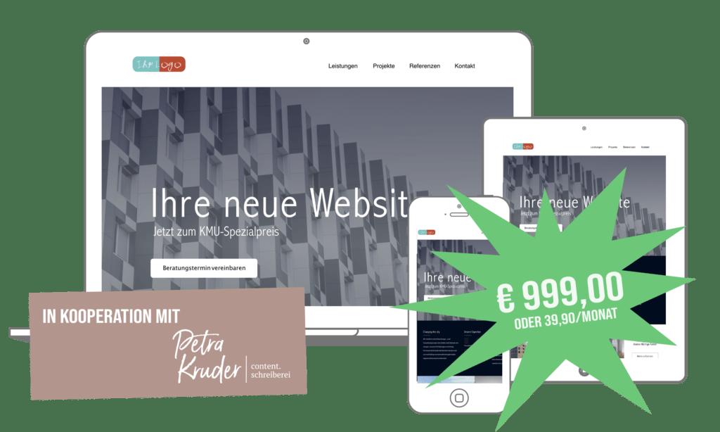 Webdesign Aktion um nur 999 Euro oder 39,90 im Monat